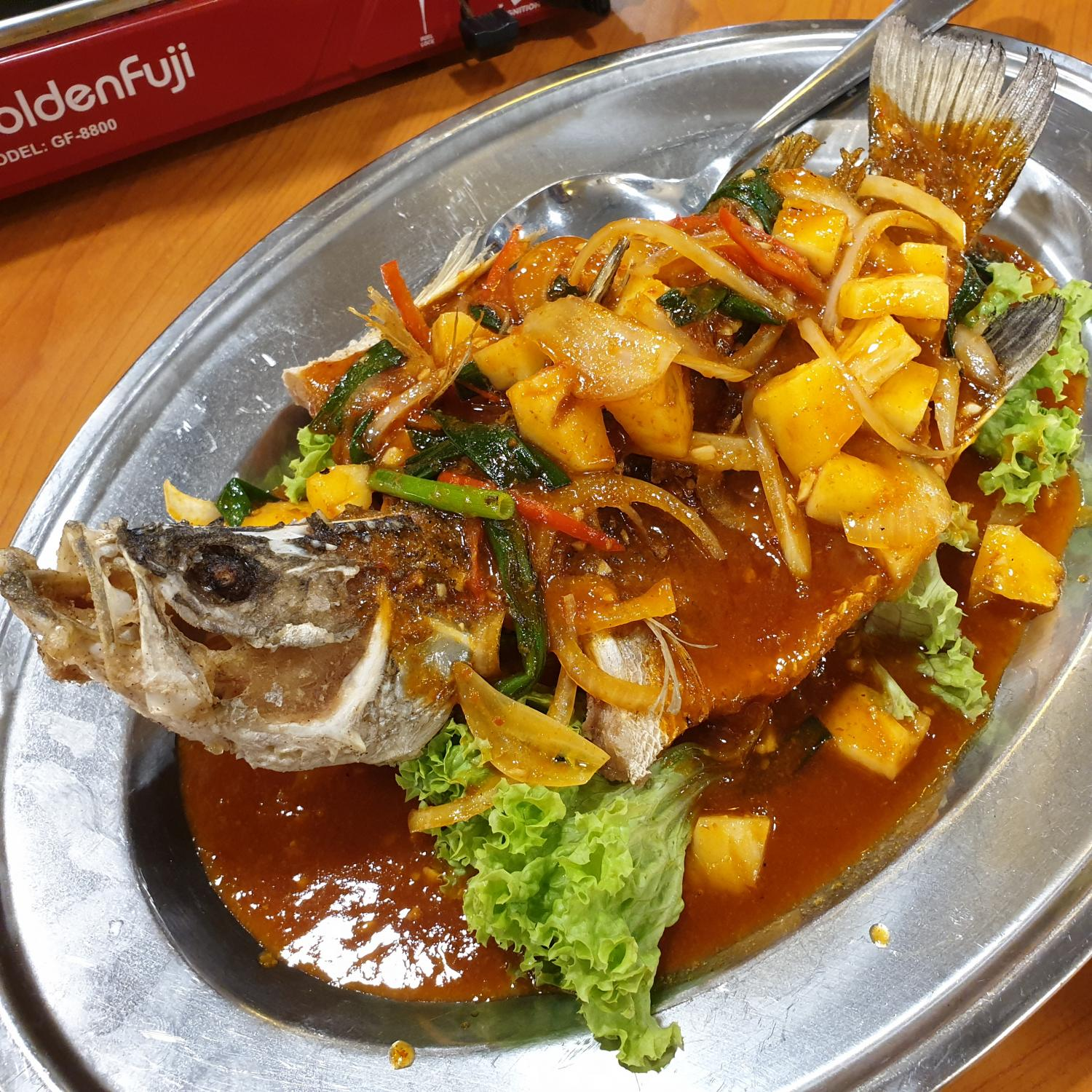 Sambal Fried Red Groupa Fish