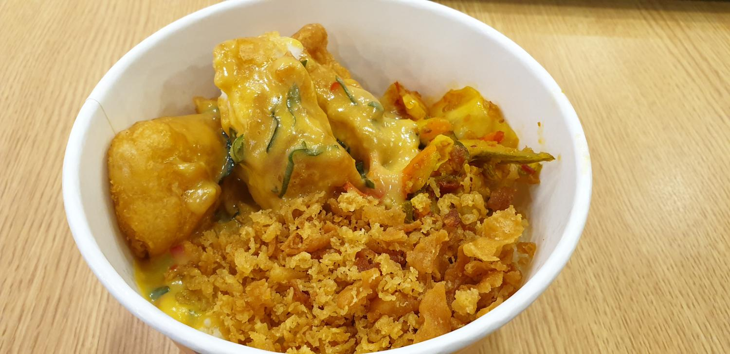 Rice bowl with chicken in salted egg