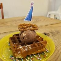 Kids Waffle with Nutella Smores Gelato