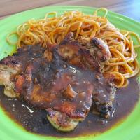 Chicken Chop with Spaghetti Bolognese