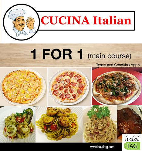 cucina italian 1 for 1 at cucina restaurant and catering - halal tag